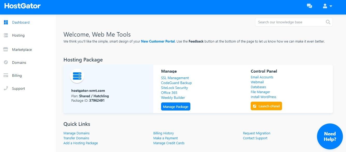Dashboard HostGator Hosting Web Me Tools