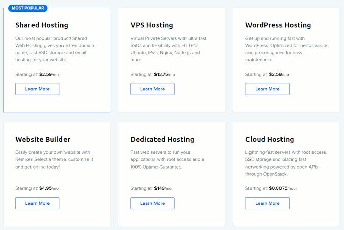 Dreamhost hosting plans all