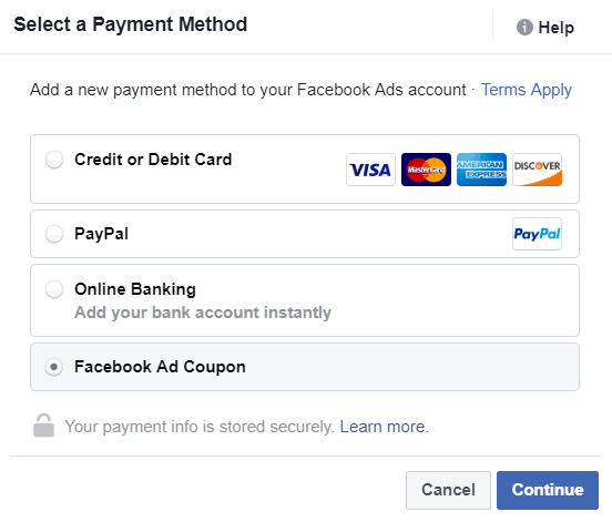 Facebook Ads Payment Method