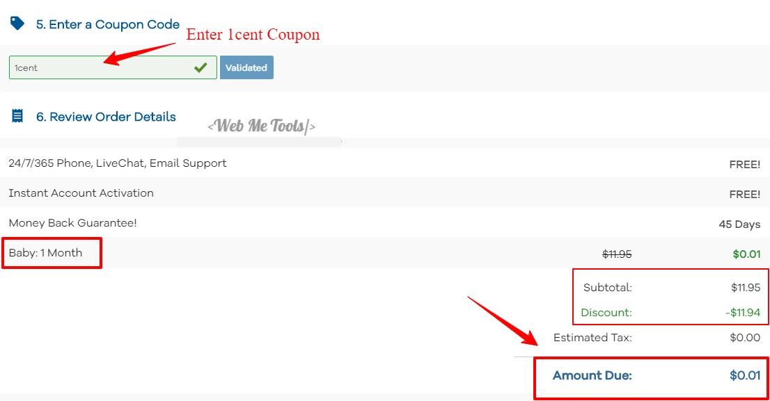 HostGator 1 cent hosting coupon billing info