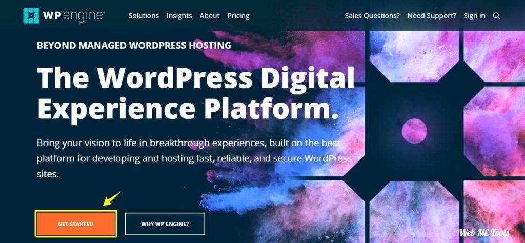 WP Engine WordPress Hosting Home Page