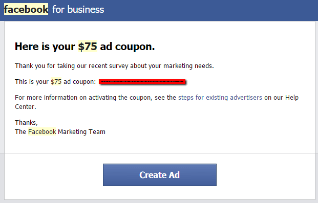 Facebook satisfaction survey with $75 Ad Coupon