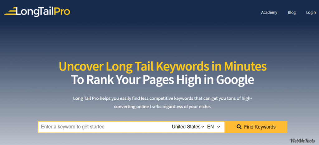 LongTailPro Keyword Research Tool for Long Tail Keywords home