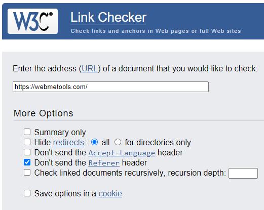 W3C Link Checker Tool