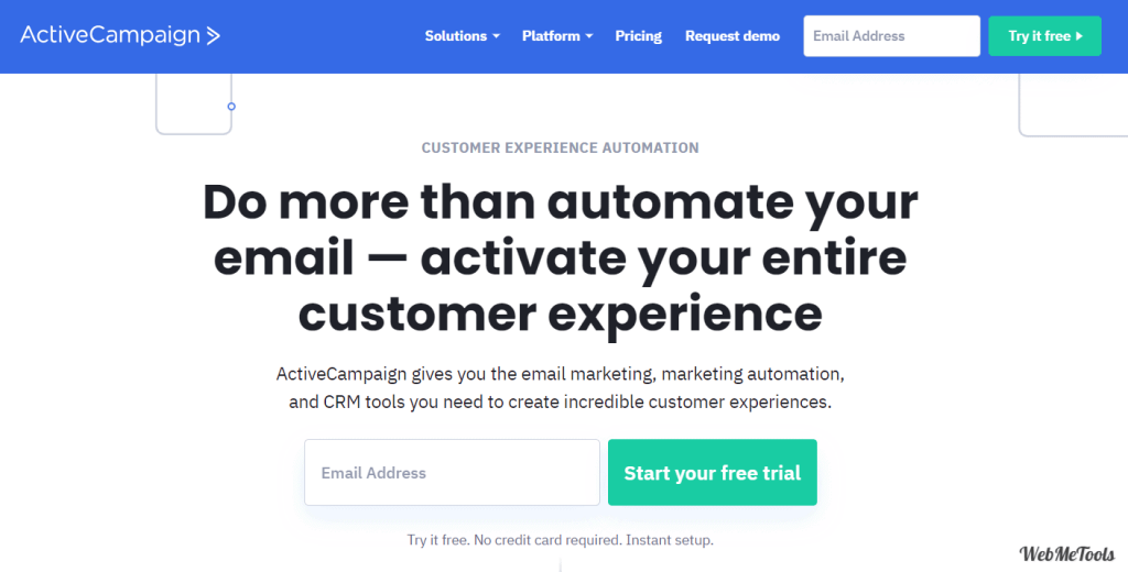 ActiveCampaign Email Marketing Home Page