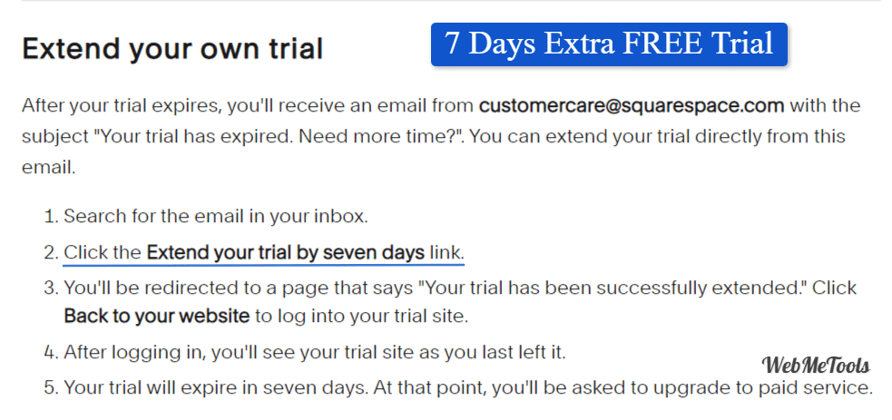 Extend Squarespace Free trial