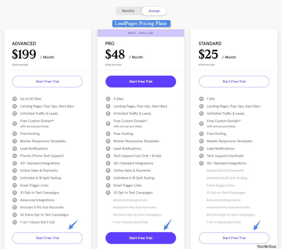 Leadpages coupon Pricing Plans