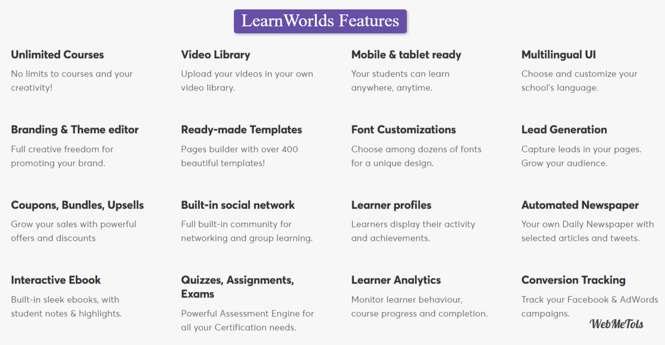 LearnWorlds Features