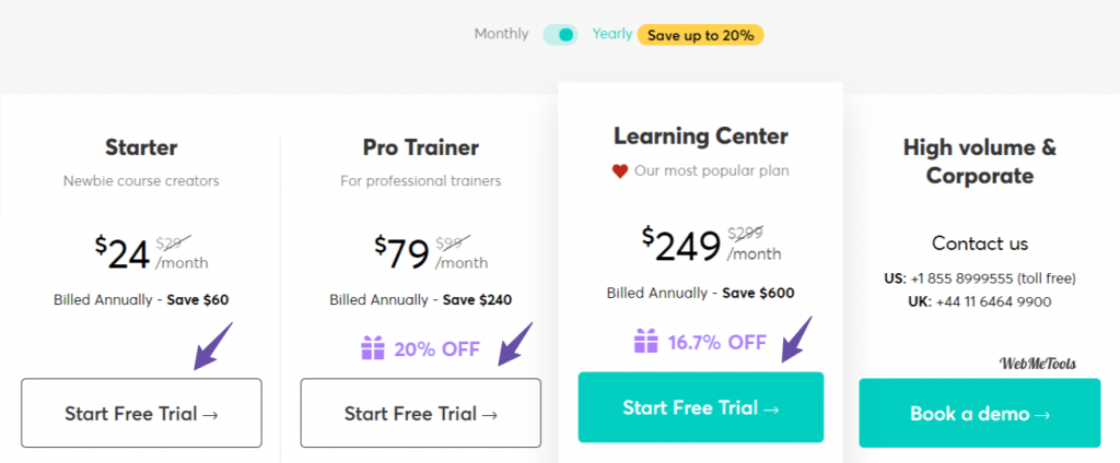 LearnWorlds Plans Pricing
