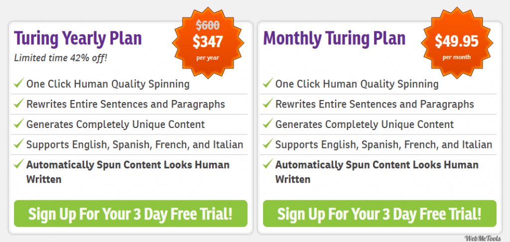 WordAi Pricing Plans