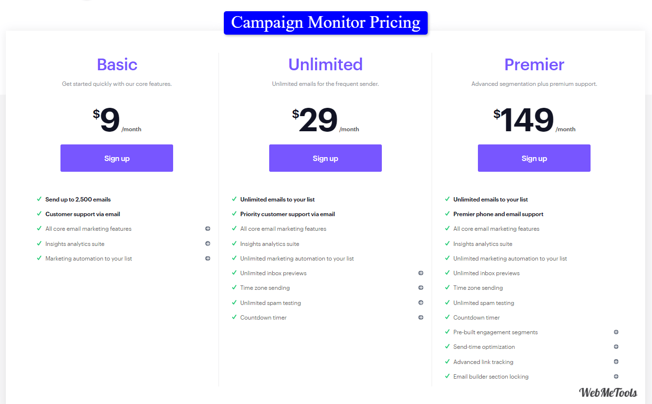Campaign Monitor Pricing Plans