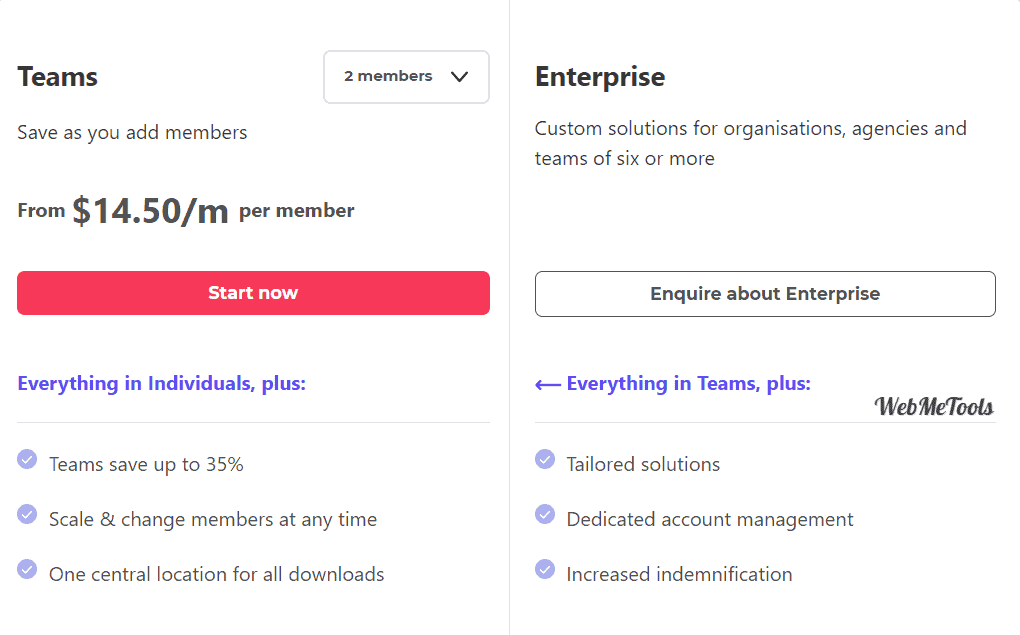 Envato Elements Pricing Plans Teams & Enterprise