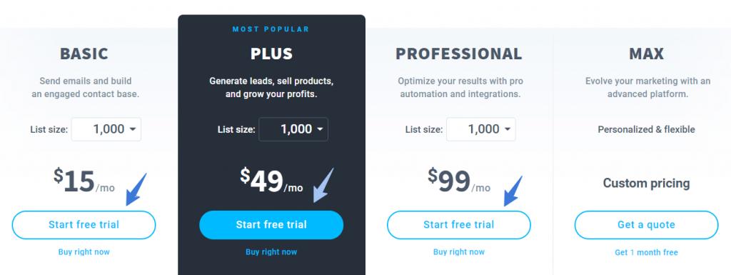 GetResponse Plans Pricing