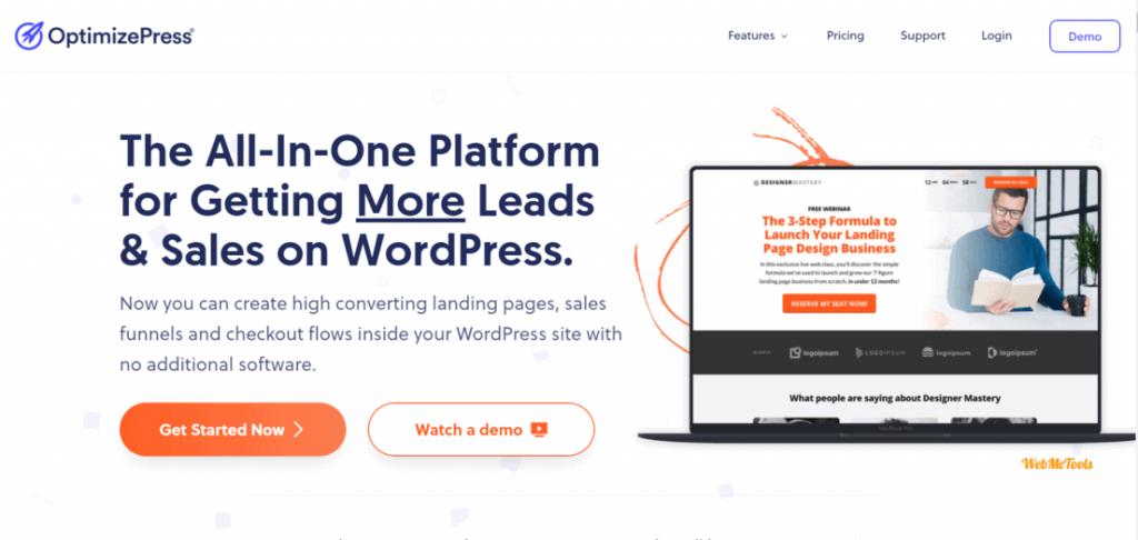 OptimizePress Landing Page Builder for WordPress Home Page