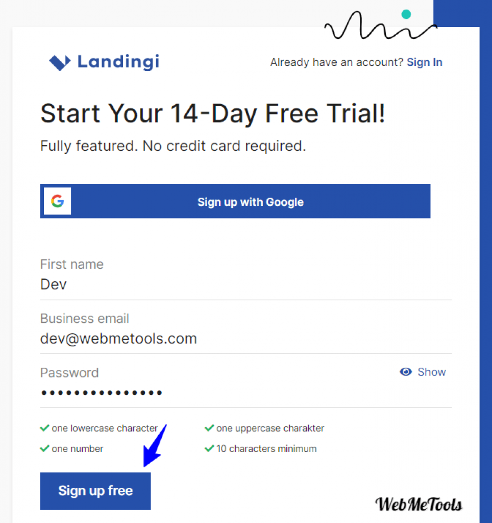 Landingi Free Trial Account Sign up