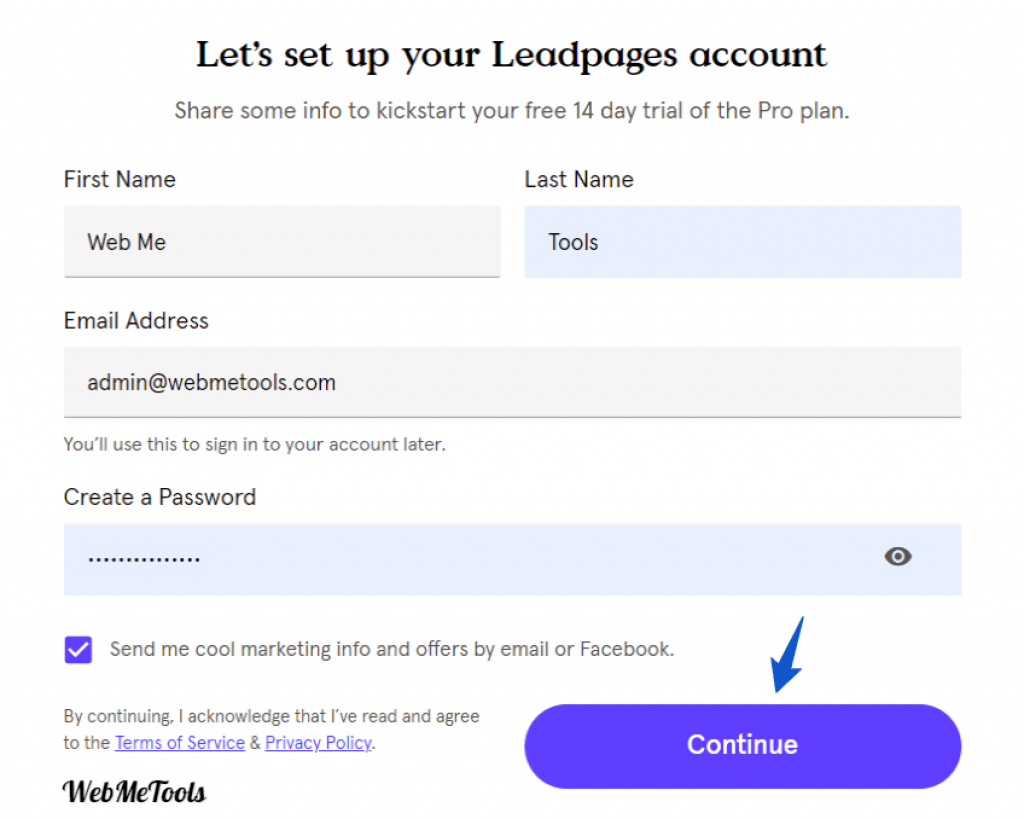 Leadpages Free Trial Account sign up