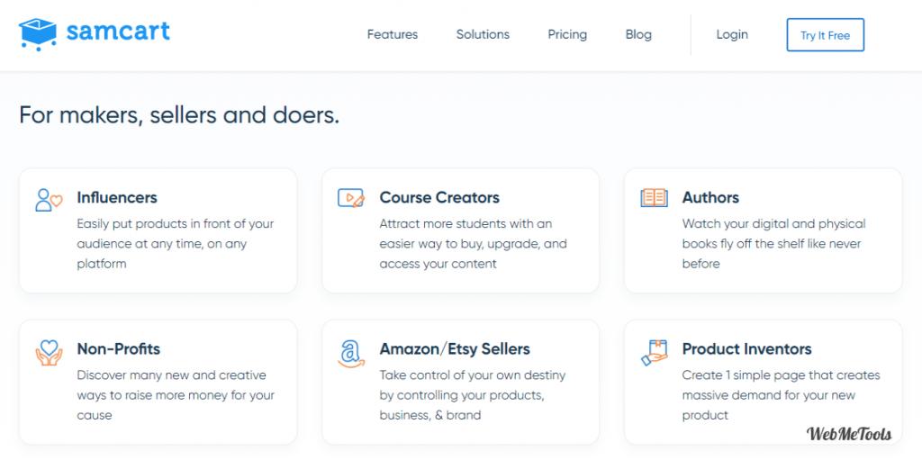 SamCart eCommerce Platform home